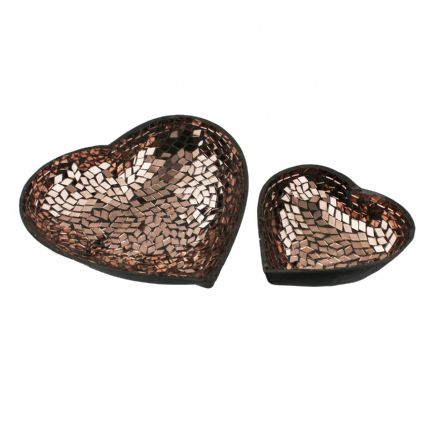 Bronze Mosaic Metal Cut Out Heart Decorative Bowls - Set of 2